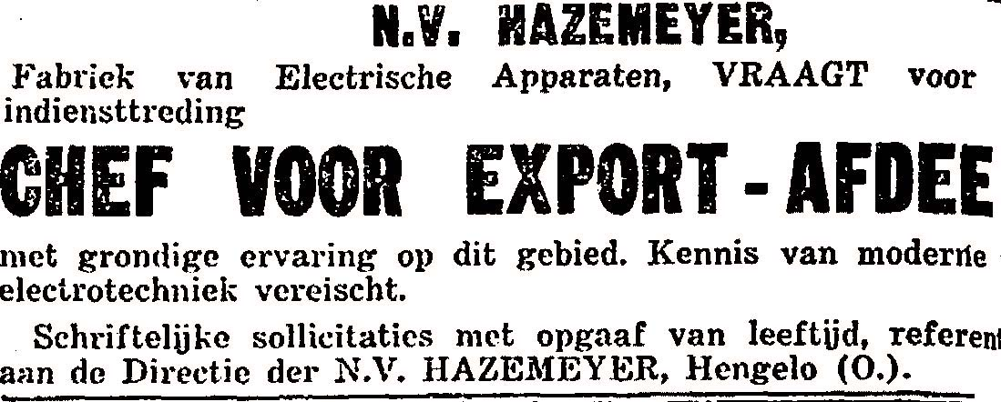 Advertentie chef export 1927