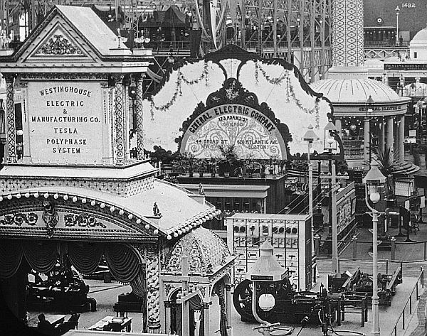 Tesla polyphase exhibit at 1893 worlds fair-small